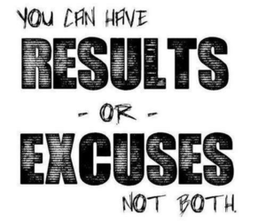 motivation, results, and excuse image