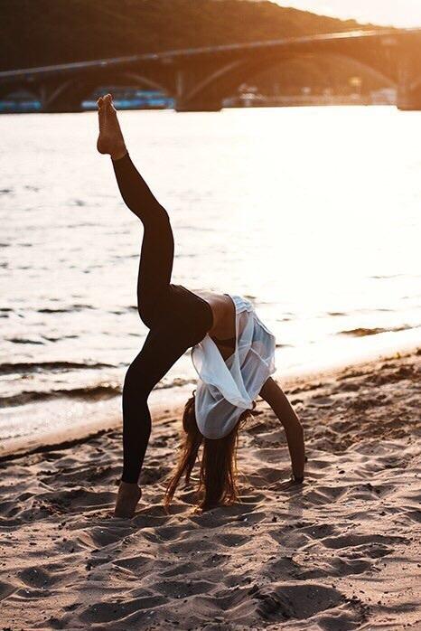 girl, yoga, and beach image
