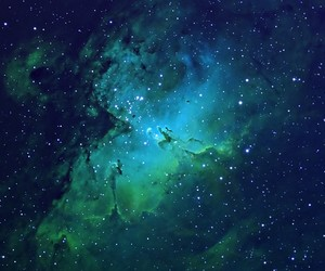 galaxy, stars, and green image