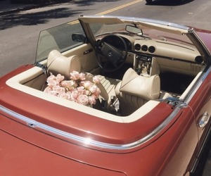 car, flowers, and roses image