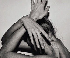 black and white, hands, and intimate image