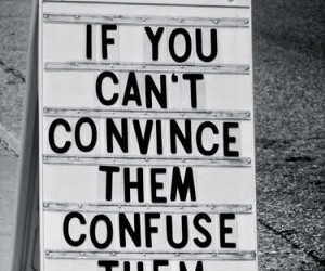 quote, confuse, and convince image