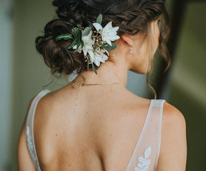 bride, flowers, and hairstyle image