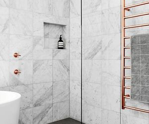 marble, bathroom, and rose gold image