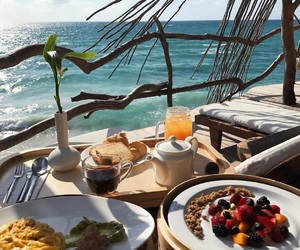food, breakfast, and beach image