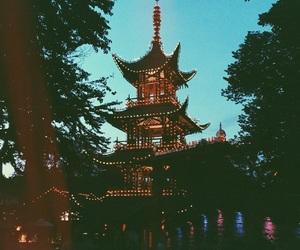 amusement park, blue, and lights image