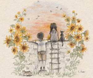 cat, girl, and sunflower image