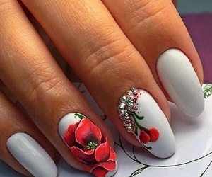 nails, flower, and red image