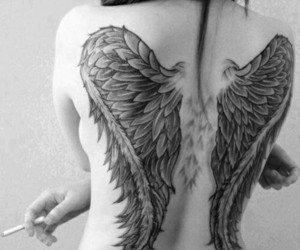 tattoo, wings, and angel image