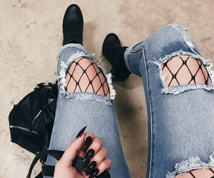 fashion, nails, and black image