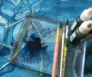 art, blue, and ink image