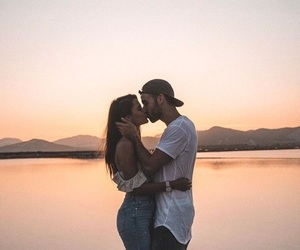 boyfriend, sunset, and view image