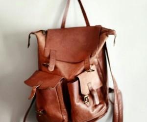bag, leather, and brown image