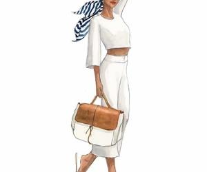 art, fashion illustration, and white image