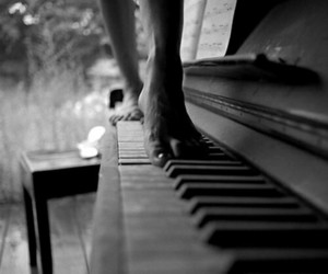 piano, feet, and music image