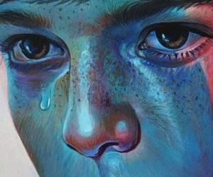 sad, blue, and eyes image