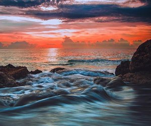 sunset, nature, and sea image