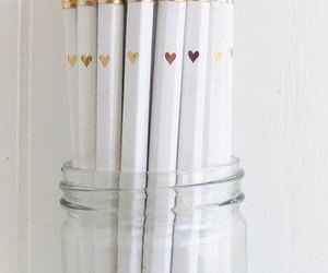 pencil, white, and gold image
