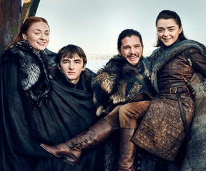 game of thrones, arya stark, and jon snow image