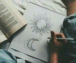art, draw, and moon image