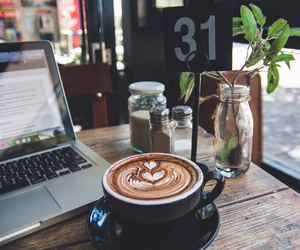 coffee, cafe, and laptop image