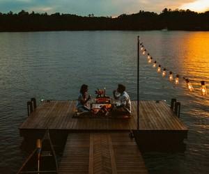 couple, lake, and nature image