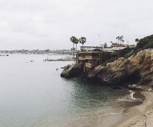 beach, california, and cliffs image
