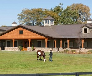 barn, stables, and horse image
