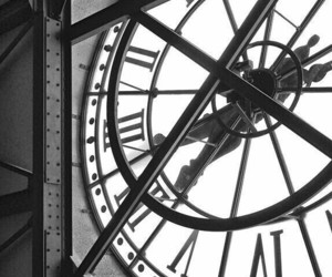 clock, black and white, and cafe image