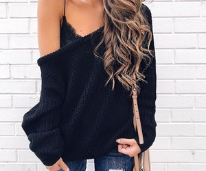 hair, jumper, and outfit image