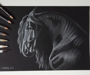 black and white, drawing, and horse drawing image