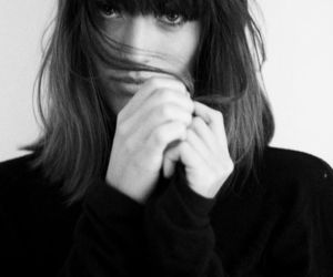 black and white, fringe, and hair image
