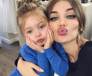 family, daughter, and makeup image