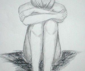 alone, drawing, and sad image
