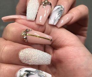 nails, nail art, and marble image