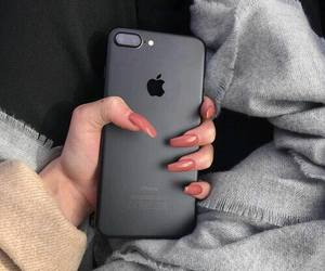 nails, iphone, and black image