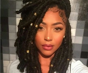 black hair, crochet, and laid image