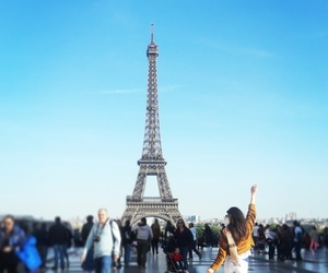brunette, Burberry, and eiffeltower image