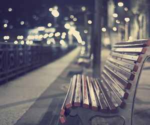 bench and night image