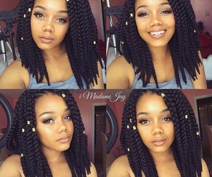 black girl, black hair, and braids image