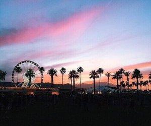 coachella, sunset, and sky image