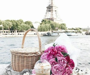 flowers, paris, and starbucks image