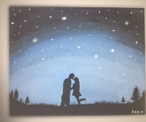 art, couple, and night image