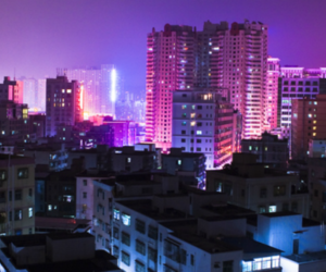 city, header, and purple image