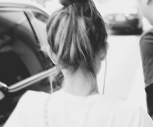 airport, black and white, and hair image