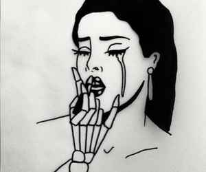 art, black and white, and cry image