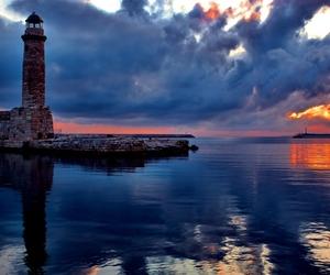 lighthouse, sea, and sky image