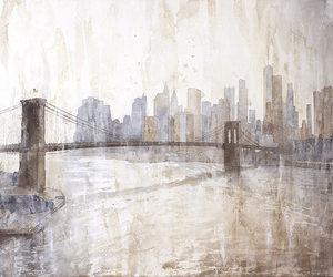 brooklyn bridge, nyc, and kitchen art image