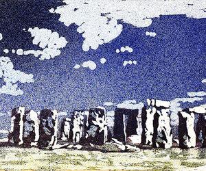 etsy, stonehenge, and watercolor landscape image
