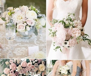 bride, flowers, and bridesmaids image
